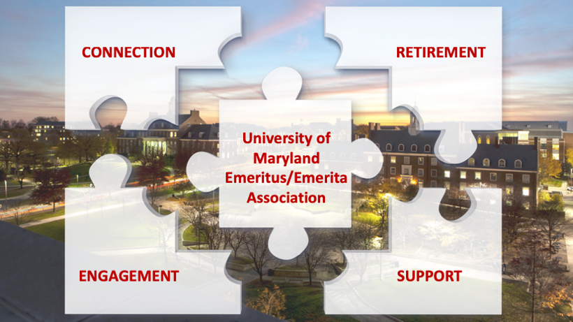Puzzle pieces with UMEEA organization goals over campus image